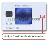 american express verification code location